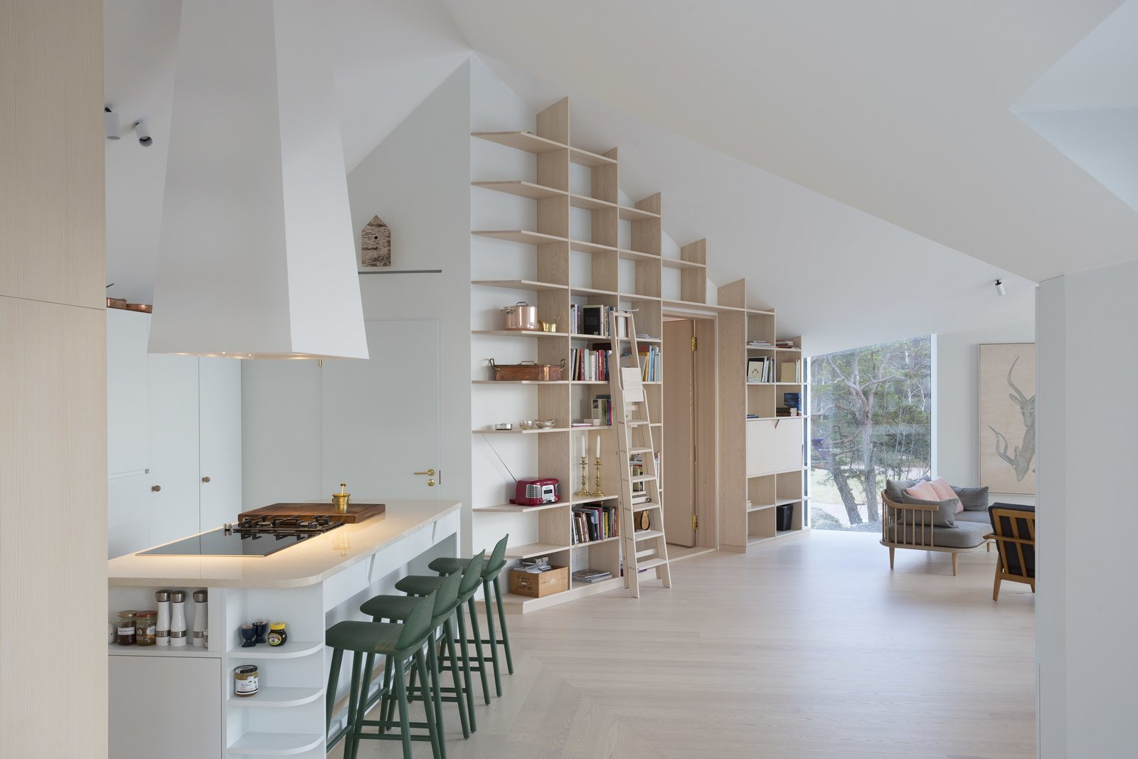 Tagged: Living Room, Bookcase, and Light Hardwood Floor. A Modern Finnish Villa That Grows Out of a Seaside Cliff - Photo 8 of 12