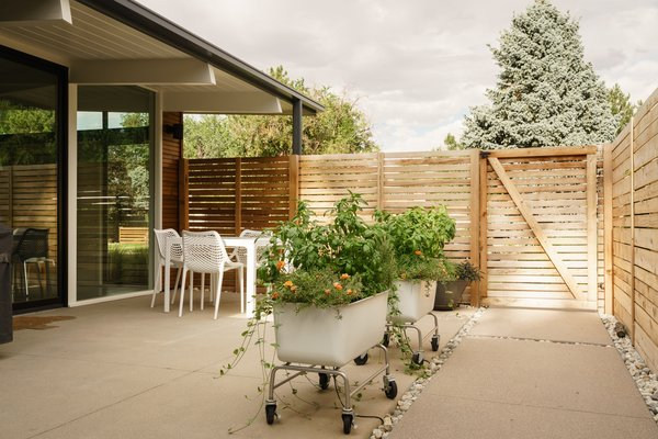 Side patios on Krisana Park homes were originally called lanai - we used regular concrete but before it was cured, power washed the top for a sand texture. Krisana Park, Denver, CO Cadence Design Studio Photo 3 of Krisana Park Renovation modern home