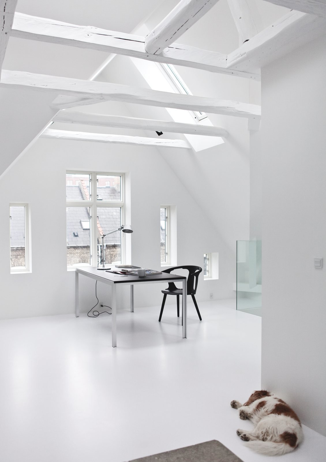 Attic workspace. Copenhagen Townhouse II by Norm.Architects. © Jonas Bjerre-Poulsen.  Modern Danish Homes We Love by Aileen Kwun from Studies and workspaces