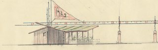 Mid-Century Modern Michigan Service Stations  by Alden B. Dow - Photo 4 of 4 - A delightful color pencil sketch for a gas station/store/house that was drawn in the 1940's but never built.