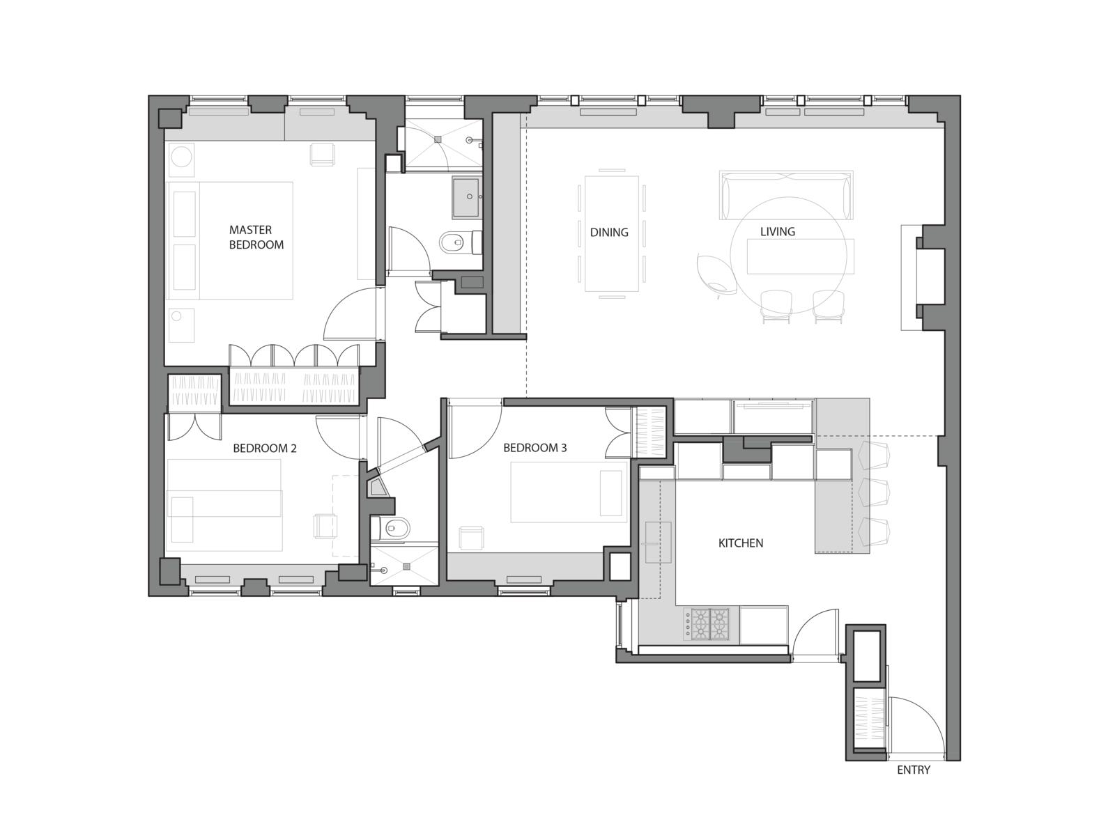 Floor Plan   Prewar Modern Upgrade by kane architecture and urban design