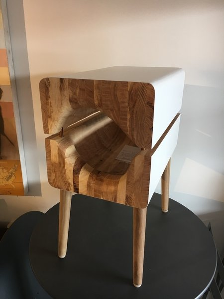 The Cat Cave by architecture intern Corey Baughman, Raleigh. It doubles as a modern end table. Photo 3 of Designers Create Modern Cat Houses for SAFE Haven for Cats Fundraiser modern home