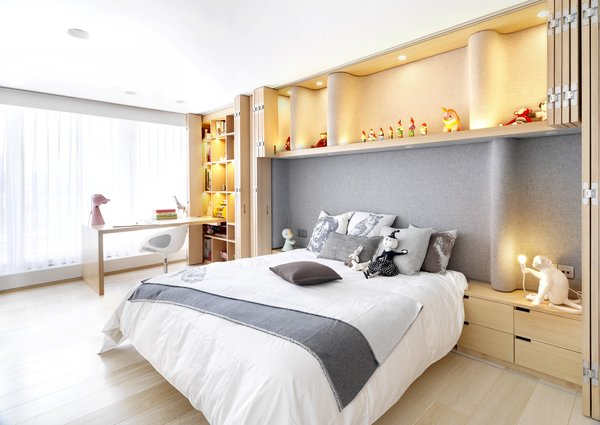 Modern home with bedroom, bed, storage, shelves, recessed lighting, ceiling lighting, wall lighting, and light hardwood floor. Daughter's Bedroom Photo 6 of Apartment of Perfect Brightness