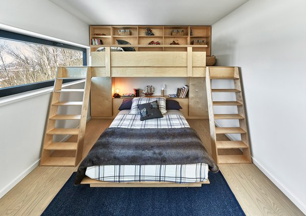 Custom birch plywood bunkbed by RobitailleCurtis Photo 14 of Laurentian Ski Chalet modern home