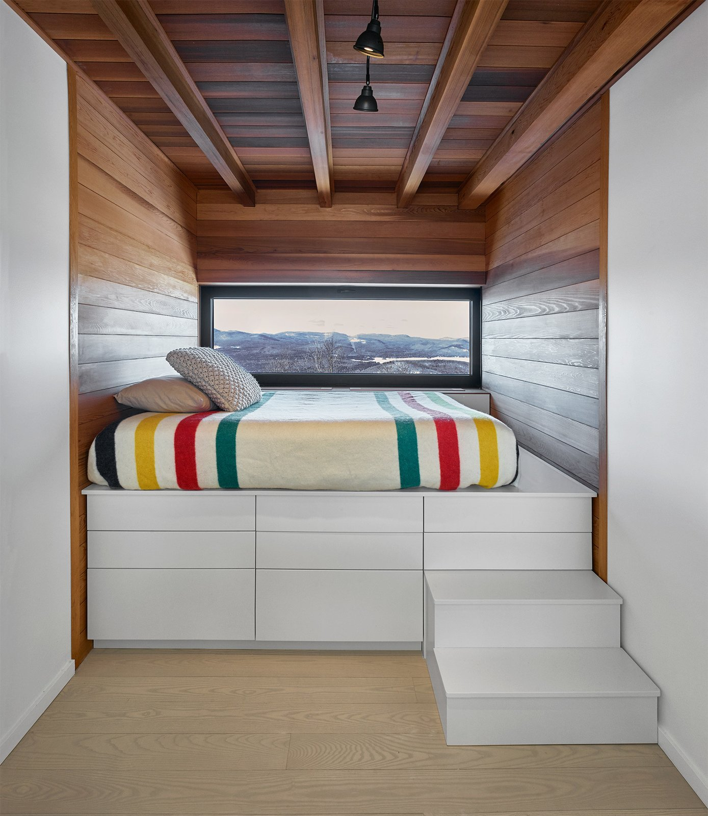 Built-in bed with a killer view!  Laurentian Ski Chalet by RobitailleCurtis