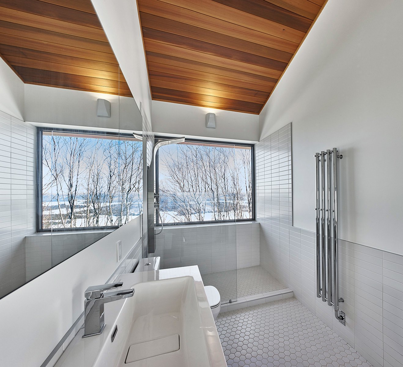 Master shower with a view  Laurentian Ski Chalet by RobitailleCurtis