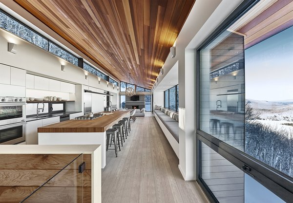 Overall view of main living space. By RobitailleCurtis Photo 4 of Laurentian Ski Chalet modern home