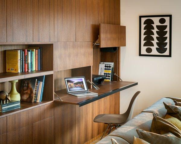 walnut shelving and flip-down desk Photo 7 of Marin Midcentury modern home