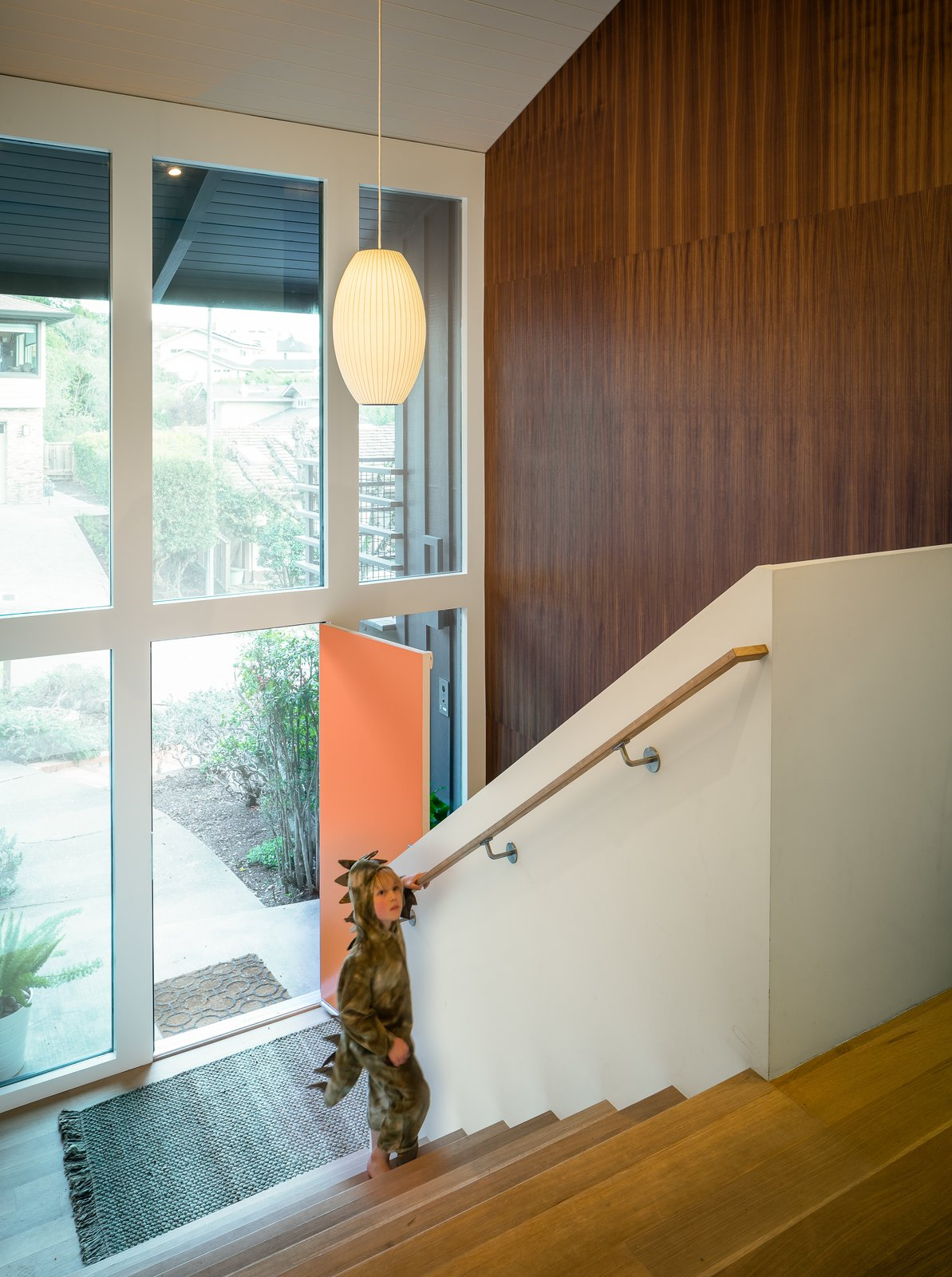 entry foyer and stairs Marin Midcentury by building Lab