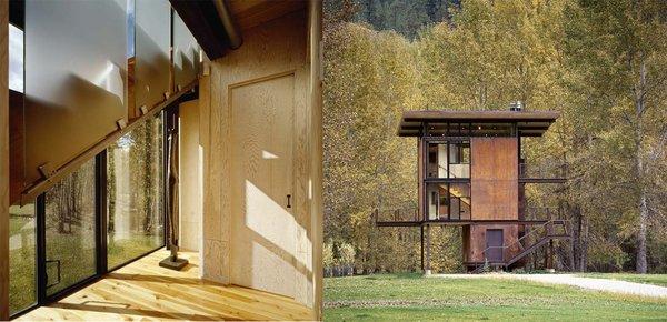 Photo 4 of 6 in Inside Washington State's Steel Cabin On Stilts