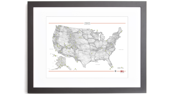 Framed National Park Printed Maps