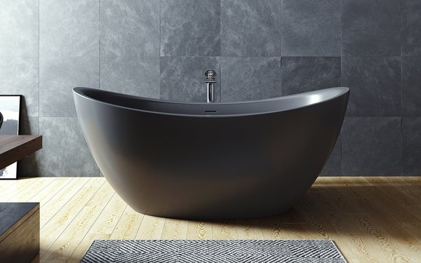 Aquatica Purescape 171 Black Solid Surface Freestanding Bathtub