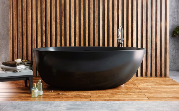 Aquatica Spoon 2 Graphite Black freestanding bathtub