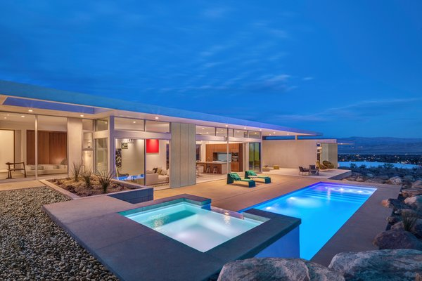 Clean, linear, timeless design expertly blends indoor and outdoor living.   Photo 2 of Desert Palisades Chino Canyon modern home