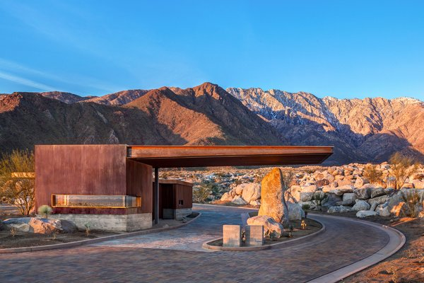 The entry gate displays the delicate balance between the natural and the manmade.  Photo 4 of Desert Palisades Chino Canyon modern home