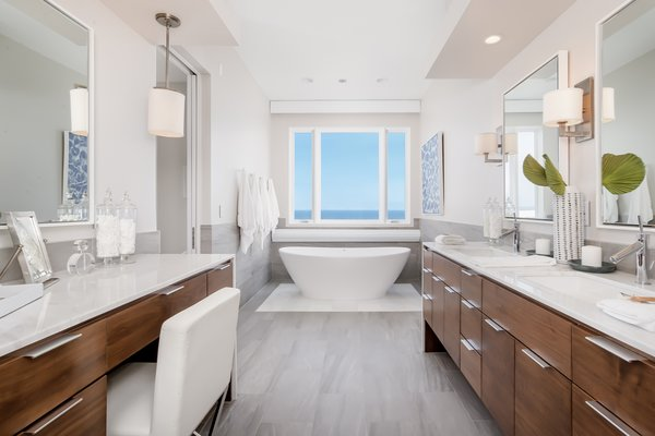 Master Bath with freestanding tub and ocean views Photo 5 of Carbon Beach modern home