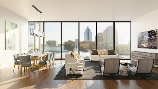 Modern home with living room. The penthouse great room with expansive windows and far-reaching city views.  Photo 2 of The Residences at The Sawyer