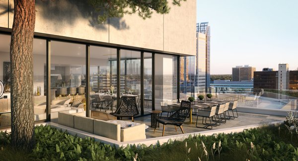 Modern home with outdoor. A Sequoia tree grows from the start of the residences, many featuring private terraces overlooking the city below.  Photo 3 of The Residences at The Sawyer