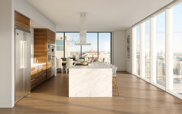 Modern home with kitchen. The penthouse kitchen features seamless modern design, quartz countertops and Viking Professional Series Appliances. Photo 4 of The Residences at The Sawyer