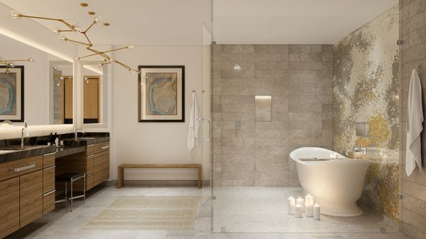 Modern home with bath room and limestone floor. Penthouse master bath features a glass-enclosed wet room with Artaic grey limestone shower floor and wall.   Photo 6 of The Residences at The Sawyer