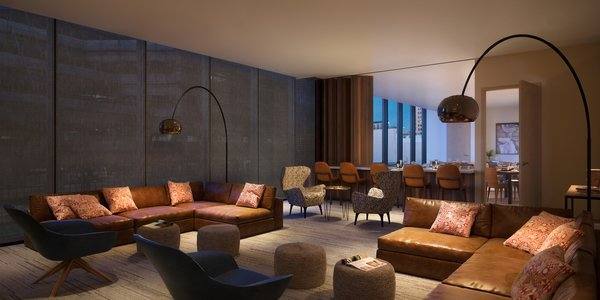 The private residents' lounge is a customizable gathering space with bar, dining room, theatre and game room.  Photo 8 of The Residences at The Sawyer modern home