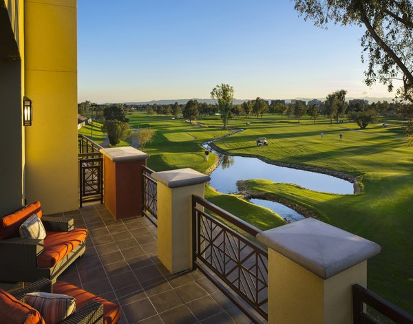 Modern home with outdoor. Private balconies overlook lush views of the Adobe Golf Course, capturing sweeping views of the green fairways and Phoenix skyline. Photo 5 of Modern Residences at the Classic Arizona Biltmore