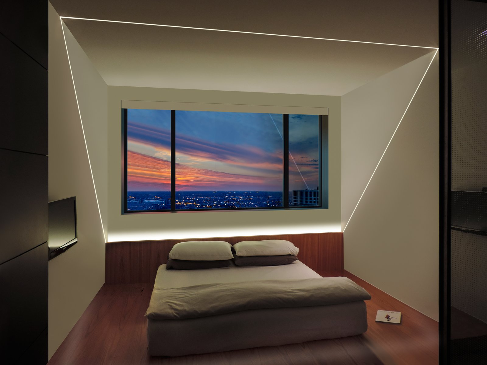 TruLine LED lighting is the centerpiece of this bedroom design 60+ Modern Lighting Solutions by Dwell