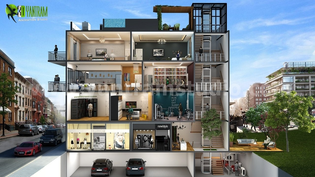 different types of multi story 3d cut section home design by yantram floor plan designer. beautiful ideas. Home Design Ideas