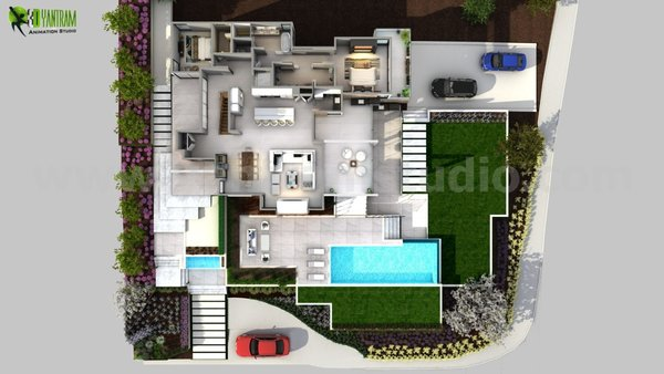 Modern home with bed, chair, floor lighting, living room, sofa, coffee tables, console tables, table lighting, wall lighting, and standard layout fireplace. 3D conceptual Floor Plan Idea Photo  of 3D Floorplan of Modern House