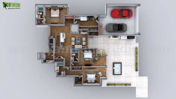Modern home with bedroom, bed, chair, dresser, storage, night stands, floor lighting, and table lighting. 3D Floor Plan residential design Photo 2 of 3D Floorplan of Modern House