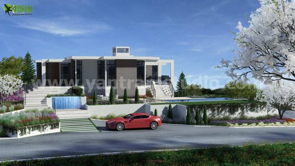 Modern home with outdoor, rooftop, back yard, front yard, trees, garden, slope, grass, gardens, large pool, large patio, porch, deck, flowers, horizontal fence, swimming pool, and landscape lighting. Residential 3D Elevation design Photo 5 of 3D Floorplan of Modern House