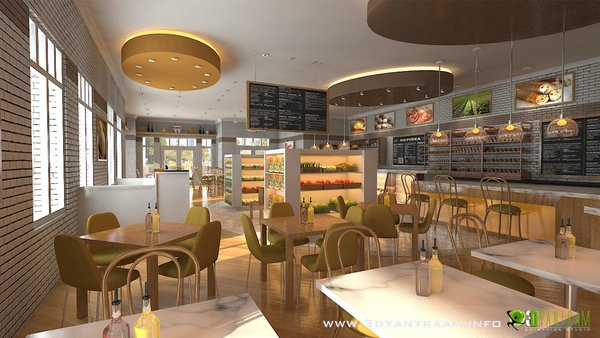 Modern home with kitchen, white cabinet, wood cabinet, granite counter, wood counter, refrigerator, ceiling lighting, pendant lighting, dishwasher, and wall oven. A refurbishment of an existing restaurant design. Photo  of Interesting 3D CGI Interior Design For Food Court