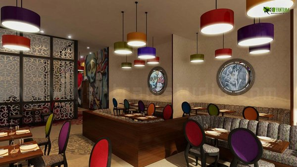 Modern home with dining room, bench, chair, table, stools, ceiling lighting, pendant lighting, medium hardwood floor, light hardwood floor, and standard layout fireplace. 3d Classic Restaurant Interior Design Firms Photo  of Beautifully Designed 3D Restaurant Interior Design View