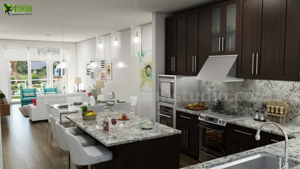 Beautifully Bold 3D Interior Kitchen Design View - California, USA