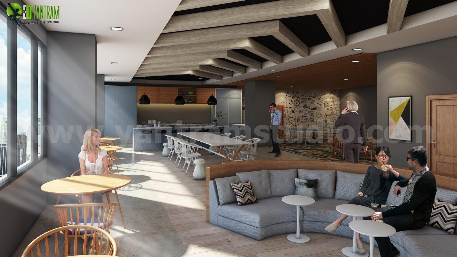 ideal 3d office interior cafe area design - texasyantram