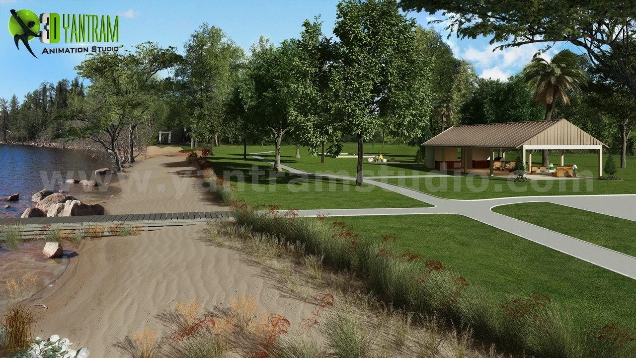 Recreation Area, River side Architecture Rendering Ideas by Yantram architectural visualization company Paris, France.  3D Exterior Perspective Rendering For a House In Los Angeles by Yantram Animation Studio