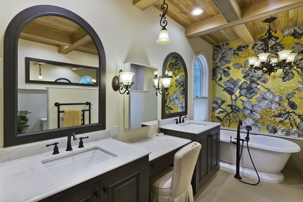 incorporated the arched window into the mirror frame design Photo 5 of Tuscan Retreat modern home