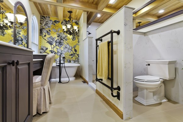bathroom layout with Bisazza feature wall Photo 3 of Tuscan Retreat modern home