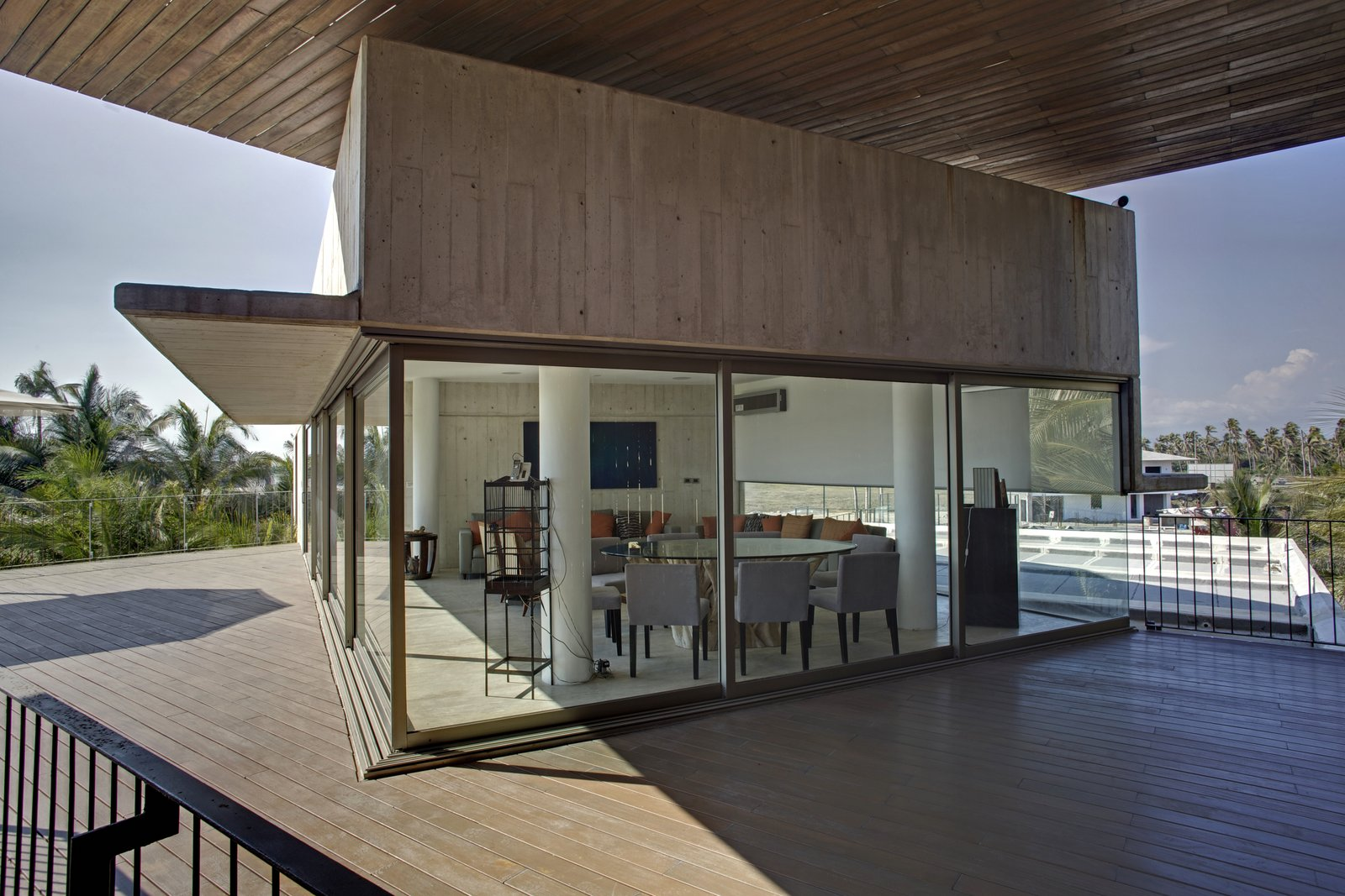 Terrace Level 3 Tagged: Living Room and Travertine Floor.  La Caracola Beach House by PAUL CREMOUX studio