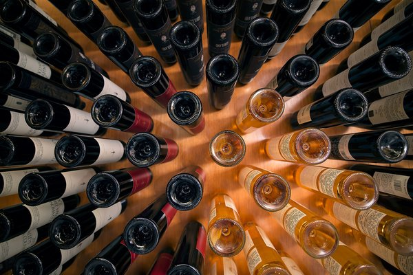 Cantilevered Wine Bottle Storage Display Photo 2 of Utah Wine Cellar modern home