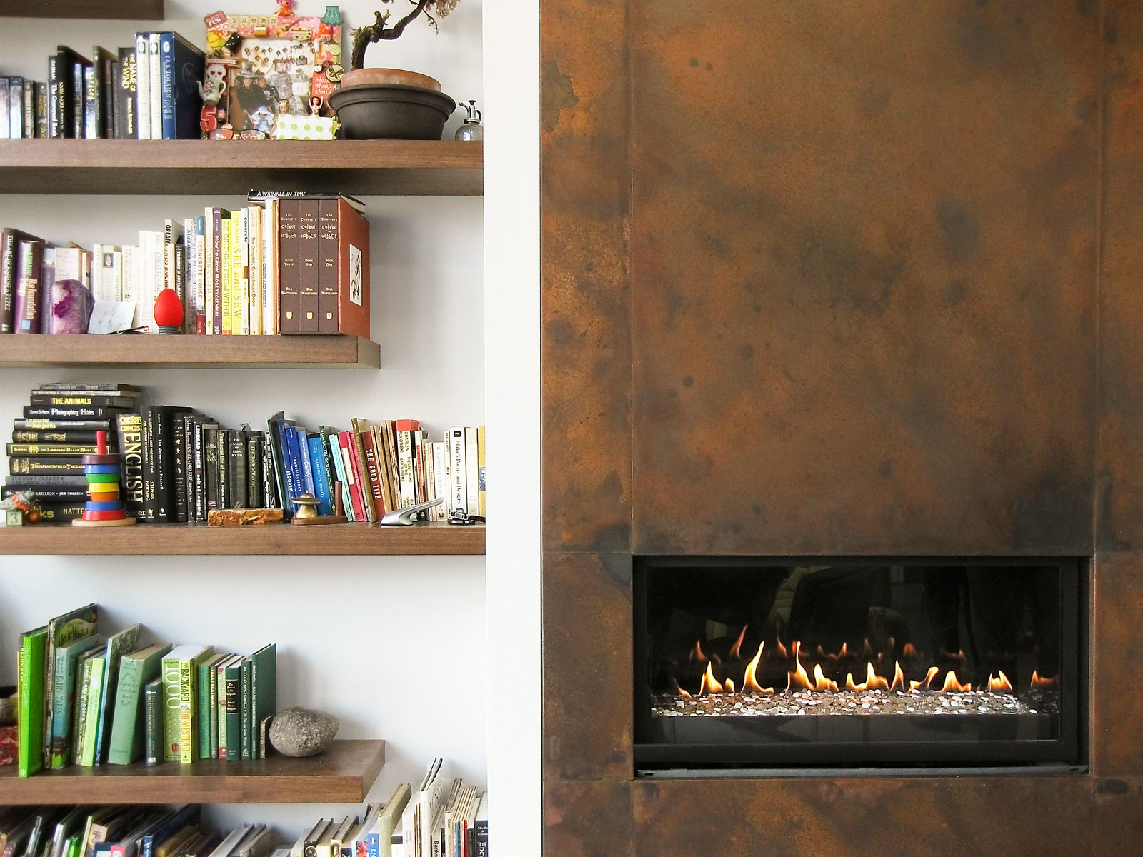 Fireplace and Shelves  Thorn Residence by Imbue Design