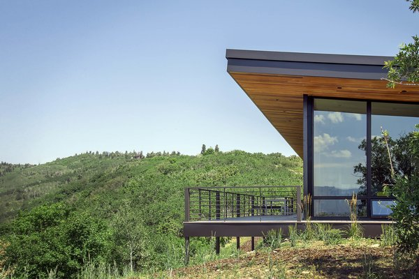 The home's deck is perched over a canyon full of wildlife and rugged vegetation.