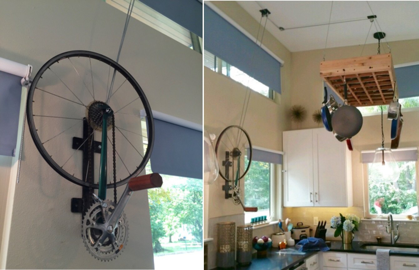 Pulley system for pot rack using a recycled bicycle wheel Tagged: Kitchen and White Cabinet.  Amplified Tiny House by Asha Mevlana