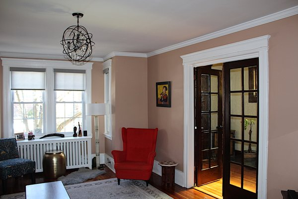 French doors in living room Photo 10 of Das Backsteinhaus modern home