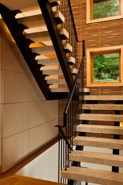 Floating travertine staircase Photo 8 of Fourth Lake Summer House modern home