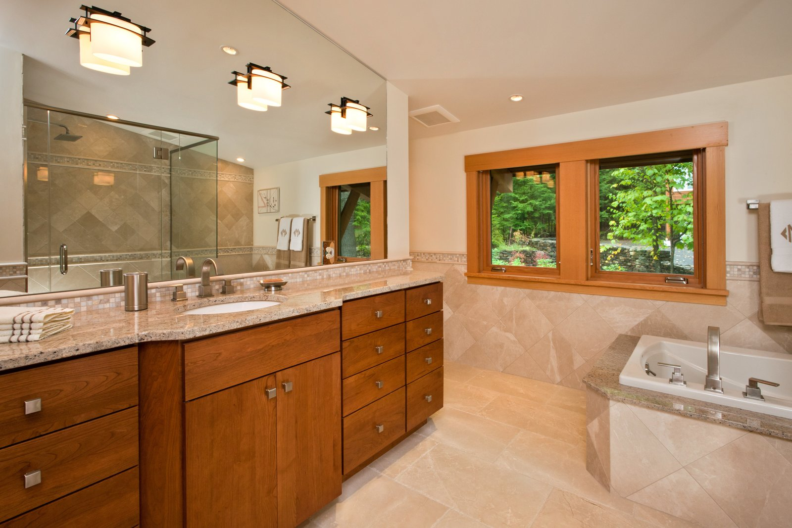 Master bathroom, Lake Luzerne, NY  Fourth Lake Summer House by Phinney Design Group