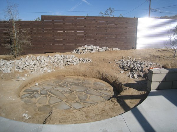 Modern home with outdoor, hardscapes, back yard, and desert. All the concrete rubble from the carport was used to make the sunken seating Photo 12 of Modern Jewel in the Desert