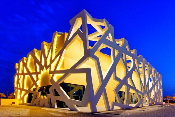Exterior Mashrabiya Facade Photo  of Conference and Exhibition Hall at GUtech modern home