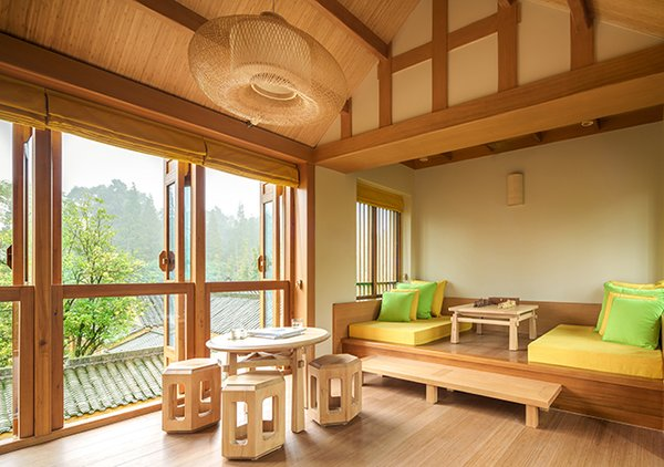 """Hide Out in One of These Asian Retreats That Are Immersed in Nature - Photo 10 of 12 - Near the UNESCO World Heritage & Natural Cultural site of Qingcheng Mountain in Chengdu, China, is a place that brings to mind the mythical feel of James Hilton's """"The Lost Horizon."""" Six Senses Qing Cheng Mountain melds minimalism with classical Chinese forms."""