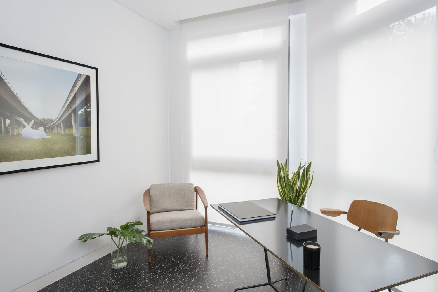 Tagged: Office, Study, Desk, Chair, and Terrazzo Floor.  Photo 9 of 10 in The Light and Airy Apartment G in Downtown Singapore